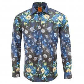 Navy Floral Placement Print Mens Shirt