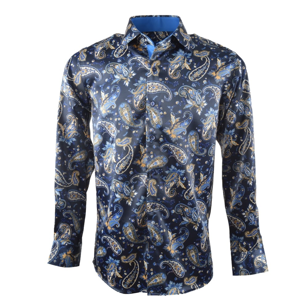 Buy Mens Satin Paisley Patterned Mens Shirt SL5743 | The Shirt Store
