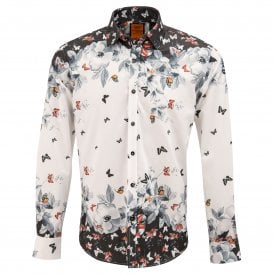 Placement Butterfly Print Mens Shirt