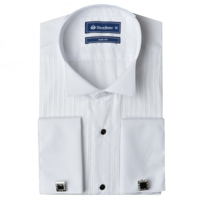 Oscar Banks Pleated Wing Collar Slim Fit Evening Dress Shirt
