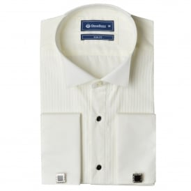 Pleated Wing Collar Slim Fit Evening Dress Shirt