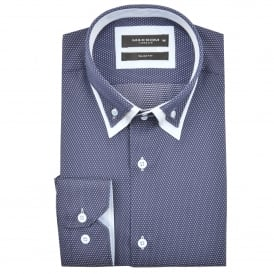 Polka Dot Patterned Double Collar Mens Shirt