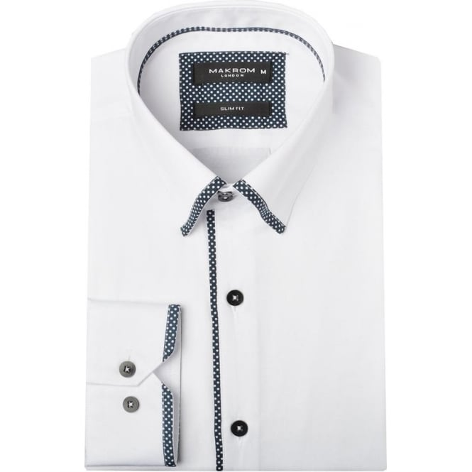 Oscar Banks Polka Dot Trim Mens Shirt