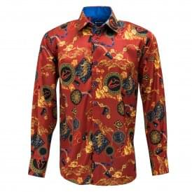 Satin Gold Chains and Belts Print Mens Shirt