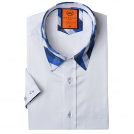 Short Sleeve Check Collar Mens Shirt