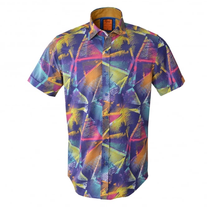 Oscar Banks Short Sleeved Abstract Print Mens Shirt
