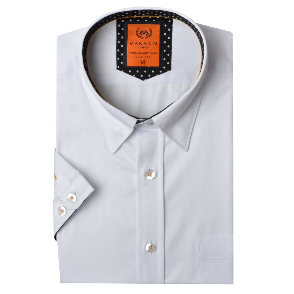 Short sleeved polka dot trim mens shirt ss6084 the shirt for Mens polka dot shirt short sleeve