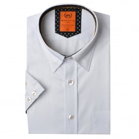 Short Sleeved Polka Dot Trim Mens Shirt