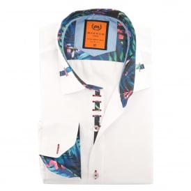 Tropical Trim Collar Design Mens Shirt