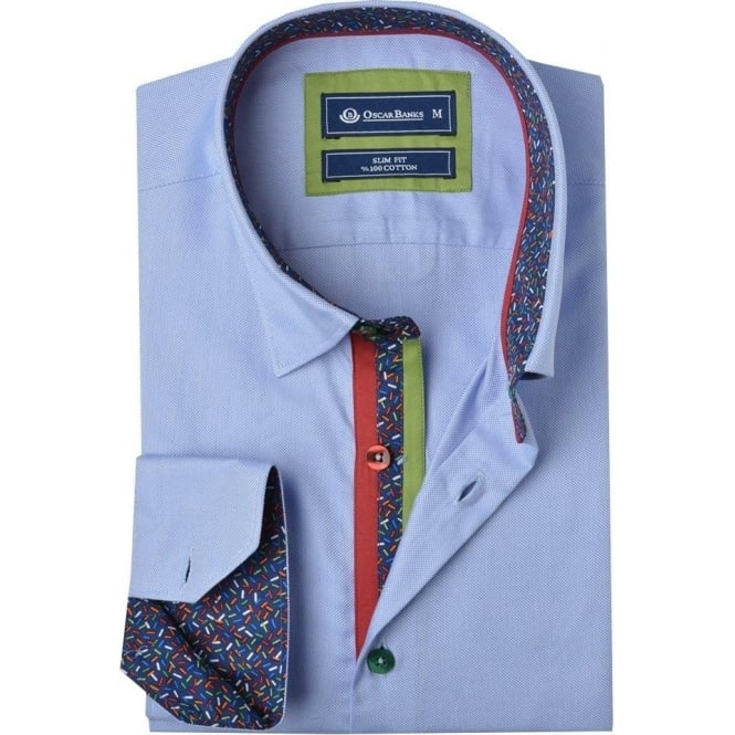 Oscar Banks Vibrant Trim Classic Collar Mens Shirt