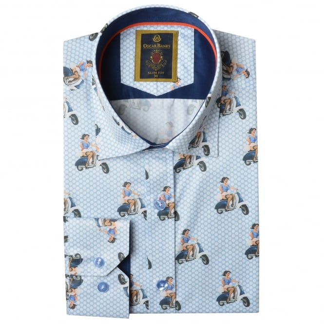 Oscar Banks Vintage Vespa Scooter Print Mens Shirt