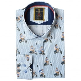 Vintage Vespa Scooter Print Mens Shirt