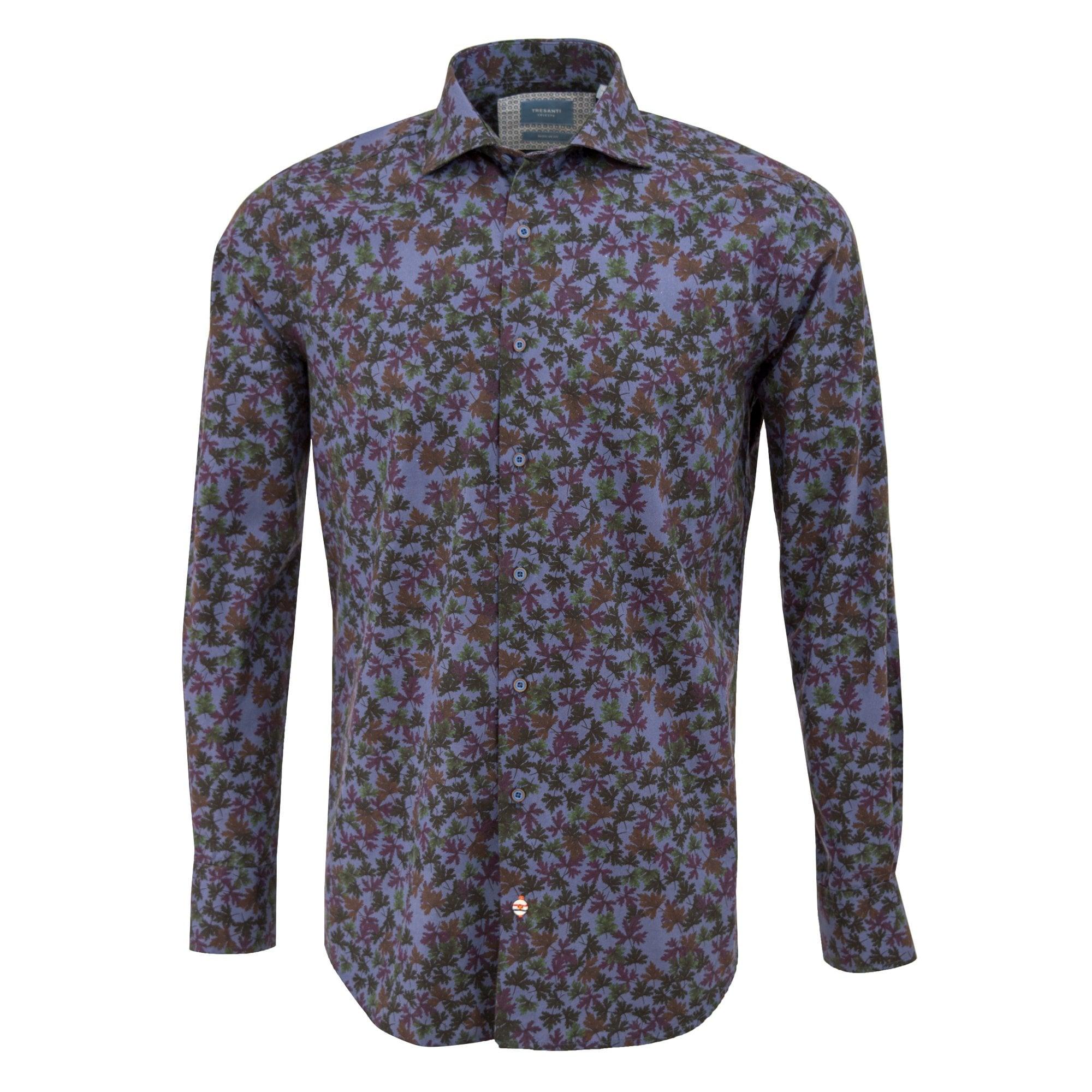 Tresanti Blue Cotton Leaves Print Mens Shirt Regular Fit