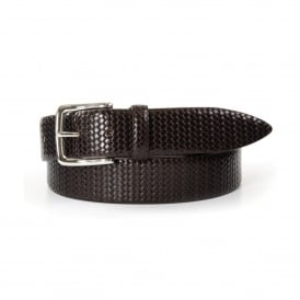 Braided Print Mens Leather Belt