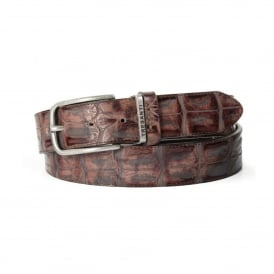 Crocodile Print Mens Leather Belt