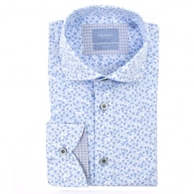 Mens White Shirt with Small Blue Flowers