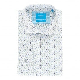 White Floral Print Mens Shirt