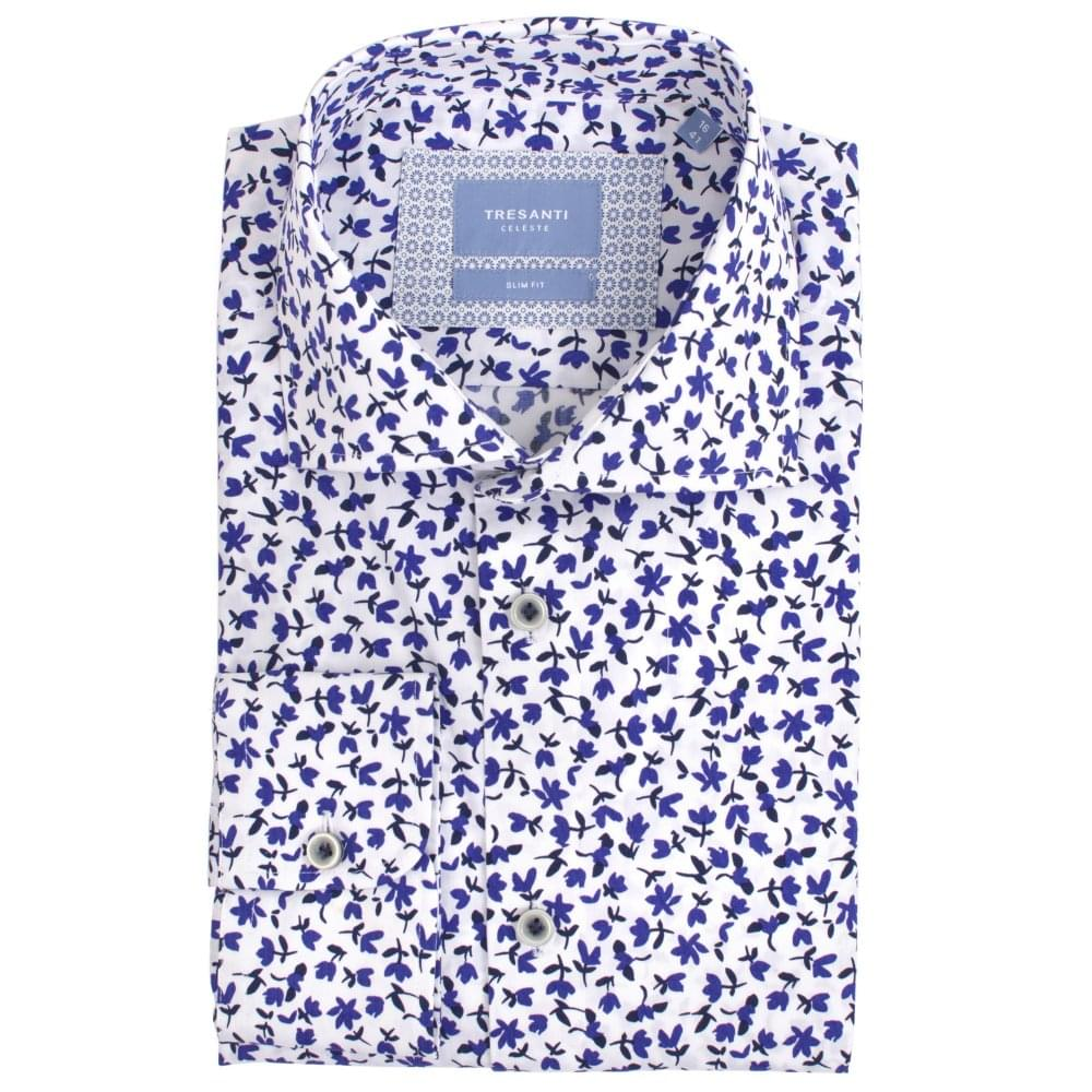 421920983fc White Mens Shirt with Stylistic Flower Print