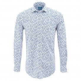 White Mens Shirt with Stylistic Flower Print