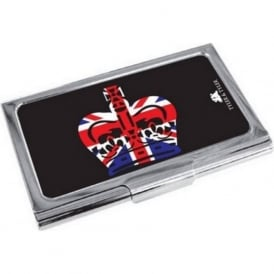 Crown Union Jack Enamel Business Card Holder