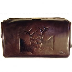 Italian Hide Leather Rutting Stags Wash Bag