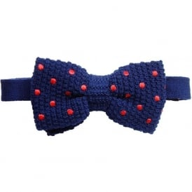 Knitted Silk Spot Bow Tie