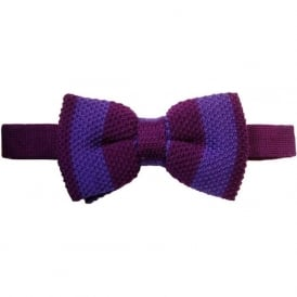Knitted Wool Striped Bow Tie