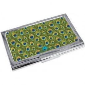 Peacock Print Enamel Business Card Holder