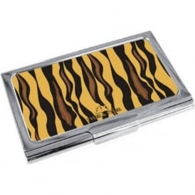 Tiger Print Enamel Business Card Holder