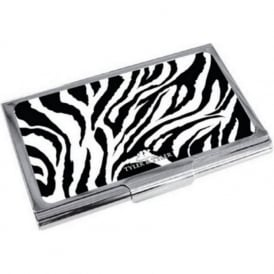 Zebra Print Enamel Business Card Holder